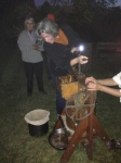 Farm apples being pressed into cider using an heirloom cider press that Apprentice Kristin's Grandfather made!
