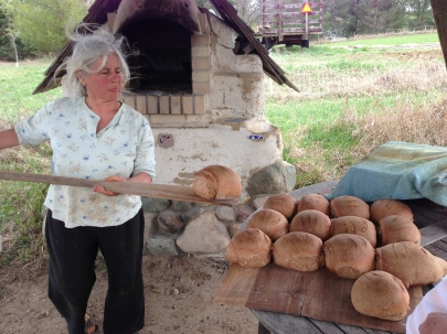 Anne lines up the fragrant loaves.
