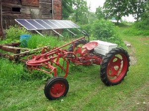 """Our Allis-Chalmers """"G"""" Cultivating Tractor After Conversion with Solar Panels"""